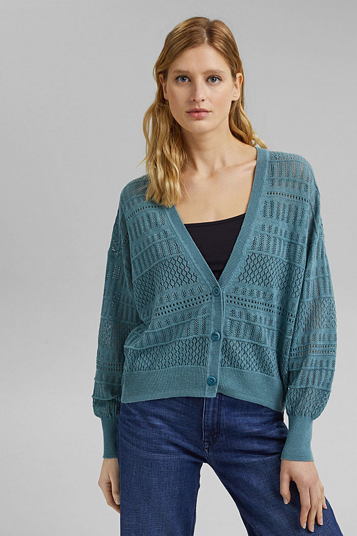 Recycled: pointelle cardigan containing linen, DARK TURQUOISE, detail image number 0