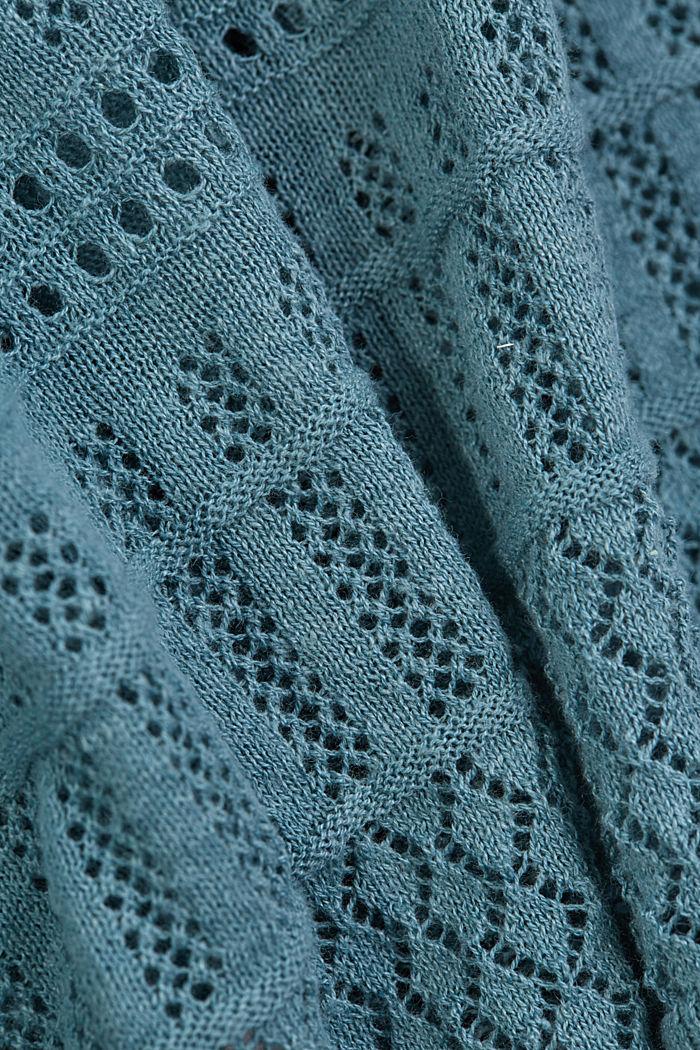 Recycelt: Pointelle-Cardigan mit Leinen, DARK TURQUOISE, detail image number 4