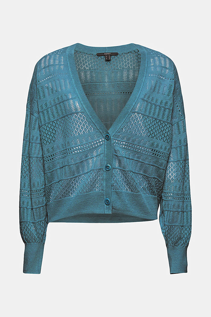 Recycled: pointelle cardigan containing linen, DARK TURQUOISE, detail image number 6