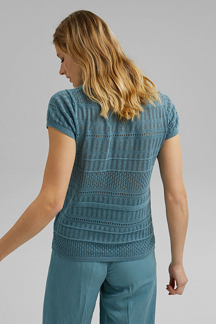 Recycled: Pointelle top containing linen, DARK TURQUOISE, detail image number 3