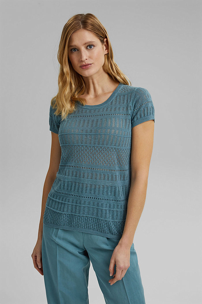 Recycled: Pointelle top containing linen, DARK TURQUOISE, detail image number 5