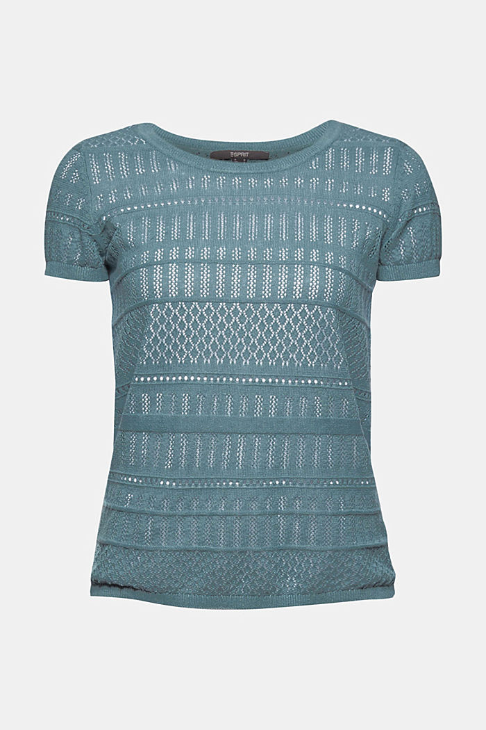 Recycled: Pointelle top containing linen, DARK TURQUOISE, detail image number 7