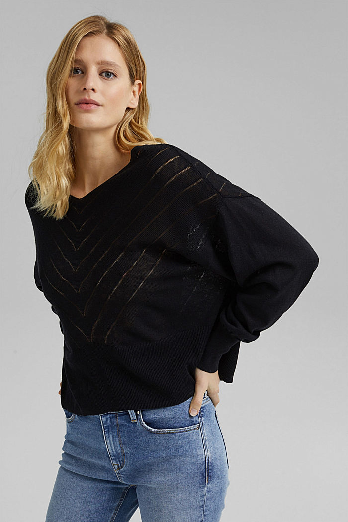 Recycled: Pointelle jumper containing linen, BLACK, detail image number 0
