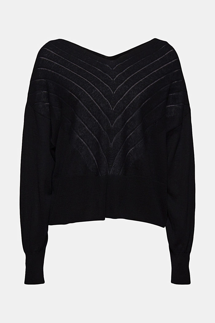 Recycled: Pointelle jumper containing linen, BLACK, detail image number 7