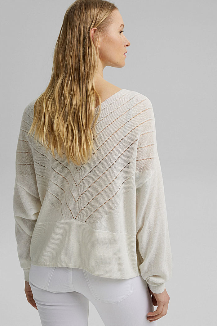 Recycled: Pointelle jumper containing linen, OFF WHITE, detail image number 3