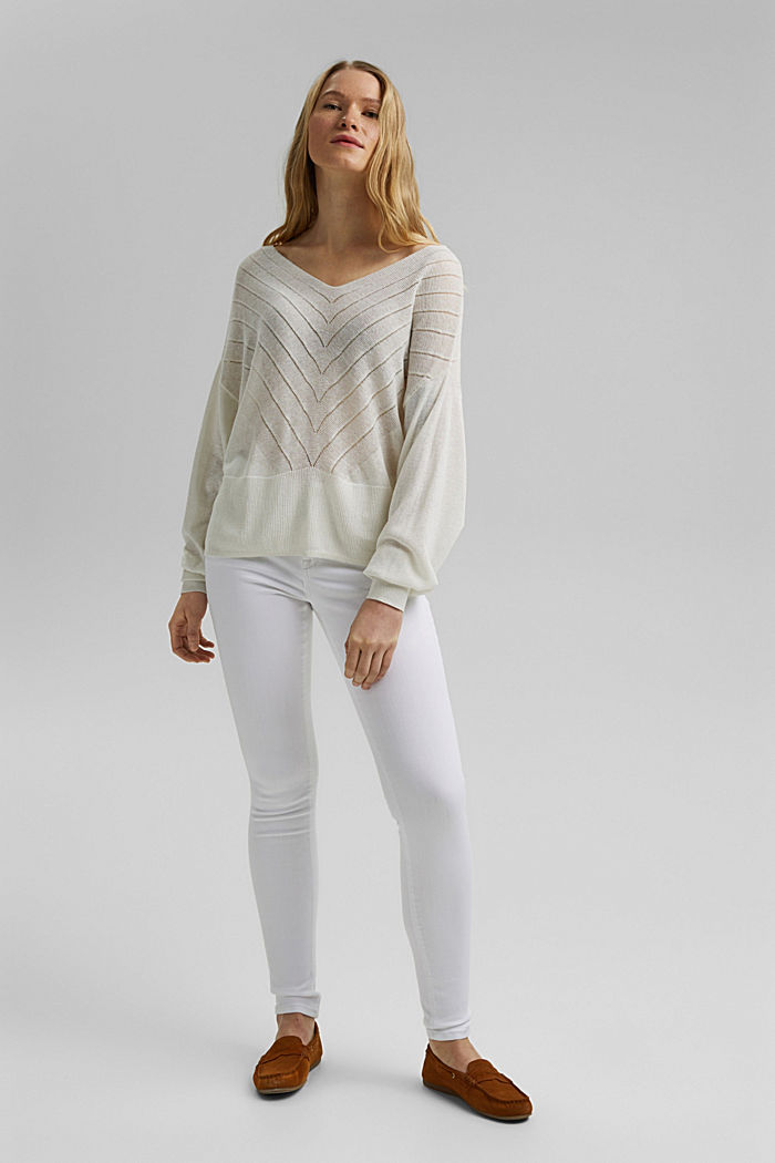 Recycled: Pointelle jumper containing linen, OFF WHITE, detail image number 1