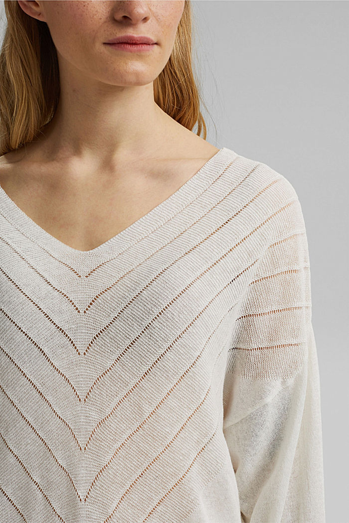 Recycled: Pointelle jumper containing linen, OFF WHITE, detail image number 2