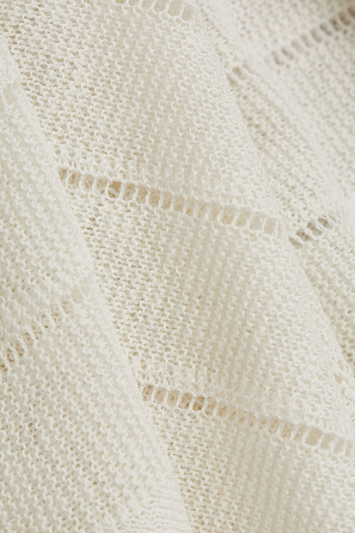 Recycled: Pointelle jumper containing linen, OFF WHITE, detail image number 4