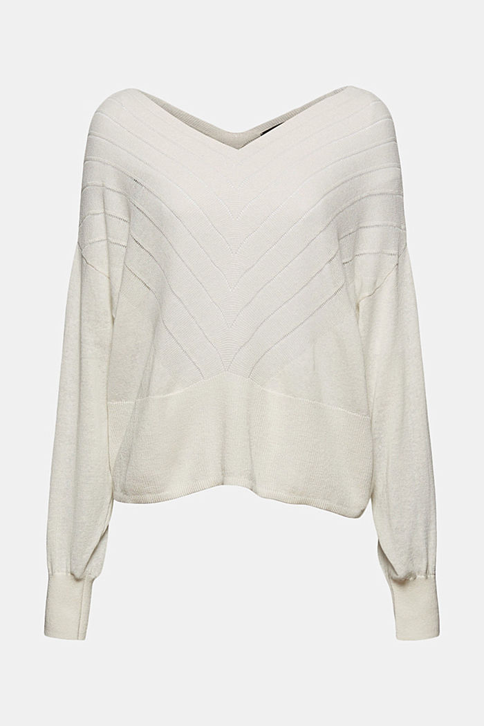 Recycled: Pointelle jumper containing linen