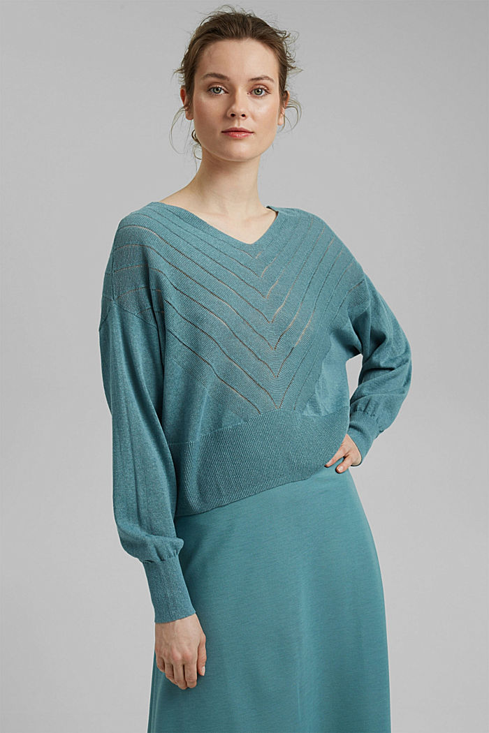 Recycled: Pointelle jumper containing linen, DARK TURQUOISE, detail image number 0