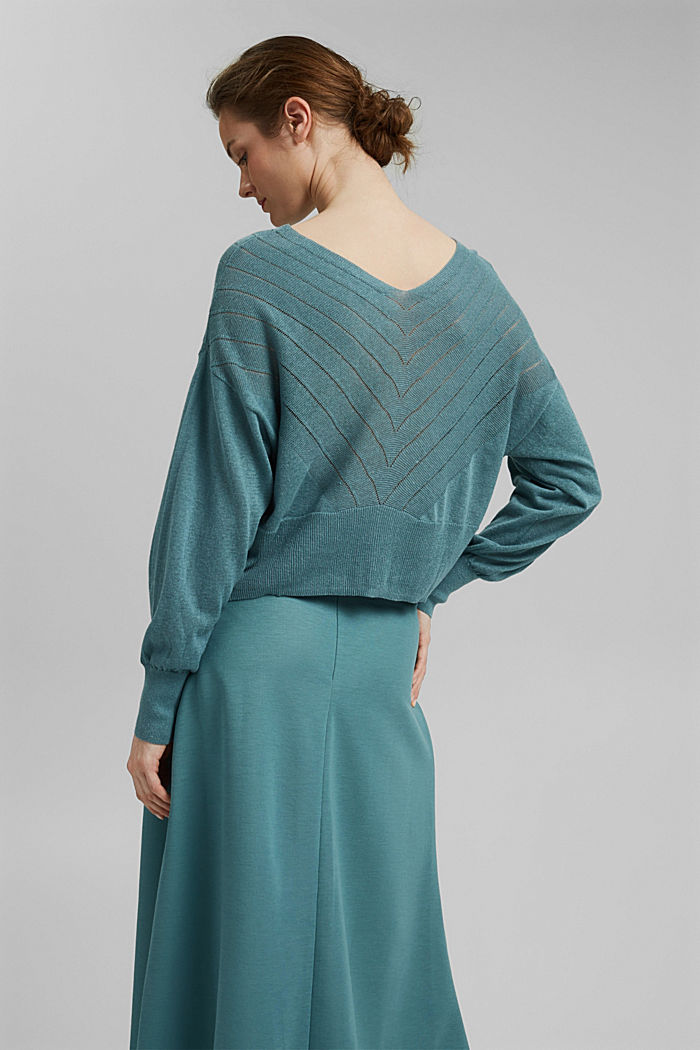 Recycled: Pointelle jumper containing linen, DARK TURQUOISE, detail image number 3
