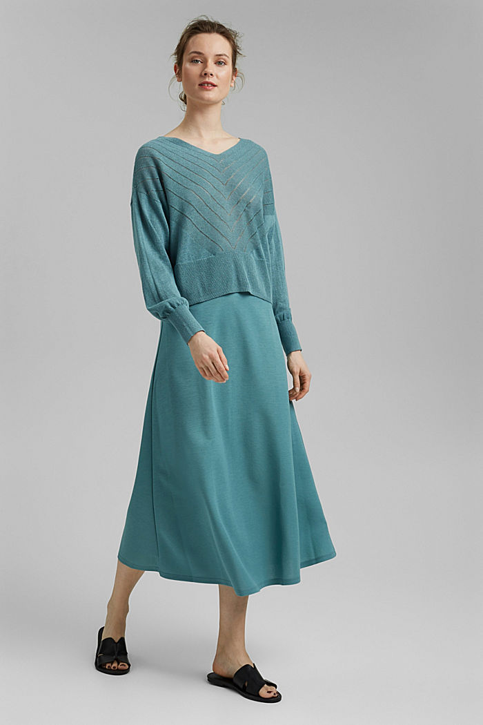 Recycled: Pointelle jumper containing linen, DARK TURQUOISE, detail image number 1