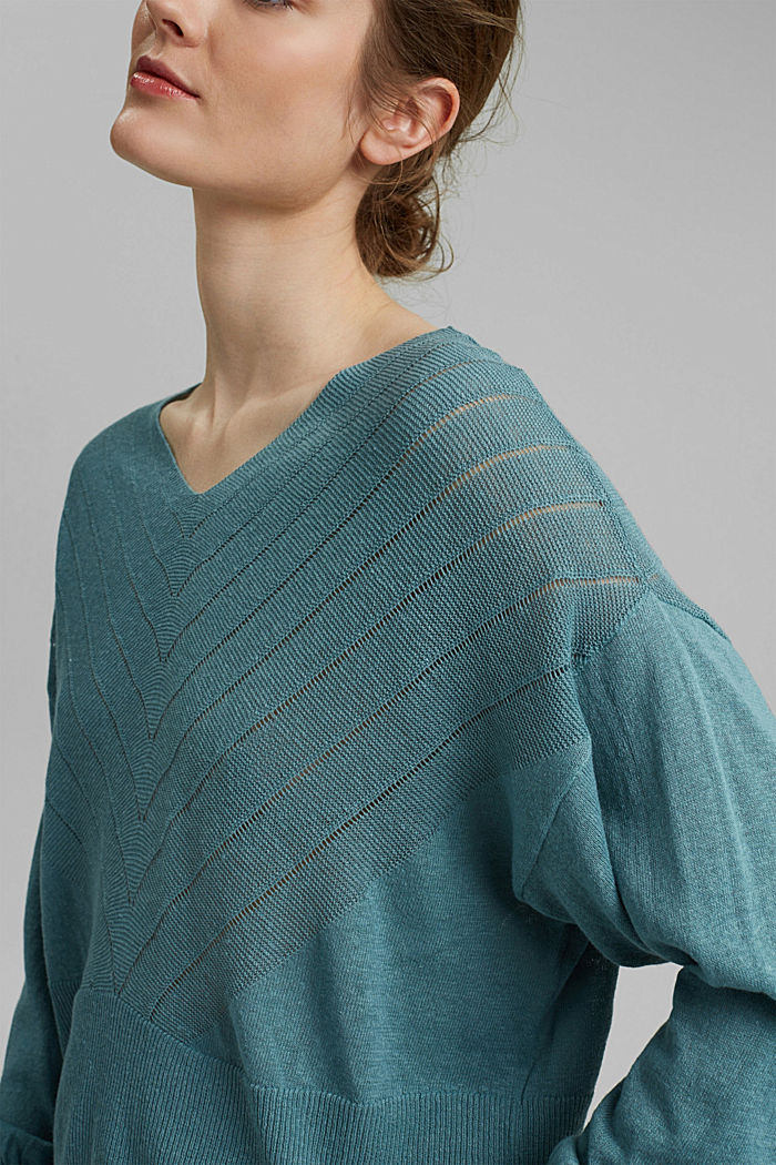 Recycled: Pointelle jumper containing linen, DARK TURQUOISE, detail image number 2