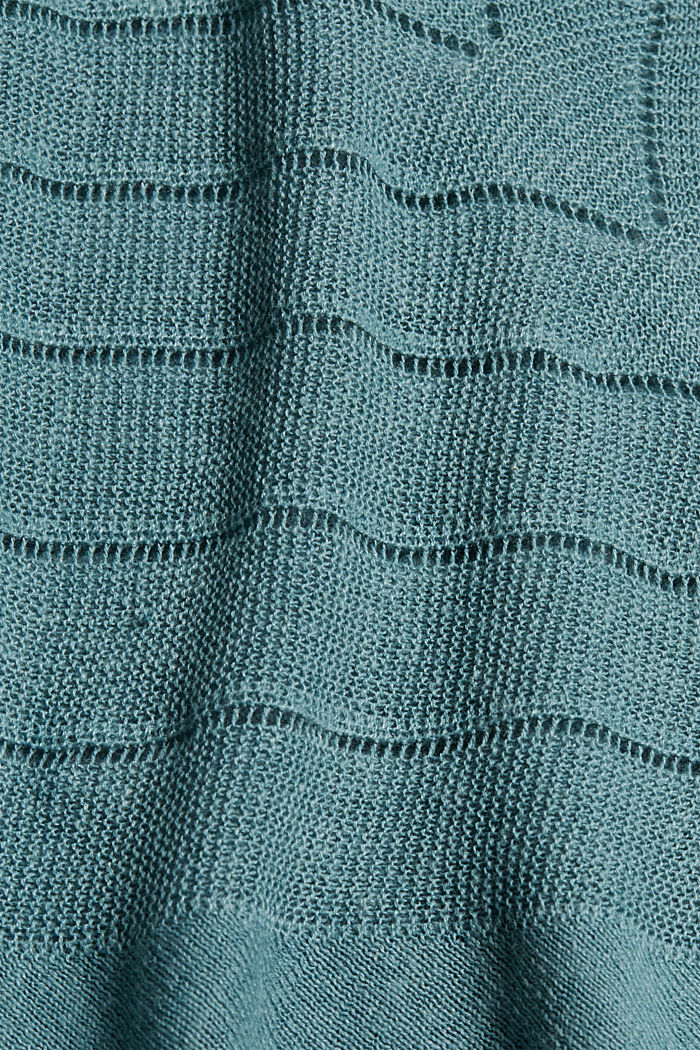 Recycled: Pointelle jumper containing linen, DARK TURQUOISE, detail image number 4