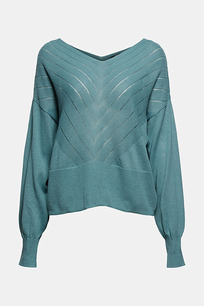 Recycled: Pointelle jumper containing linen, DARK TURQUOISE, detail image number 5