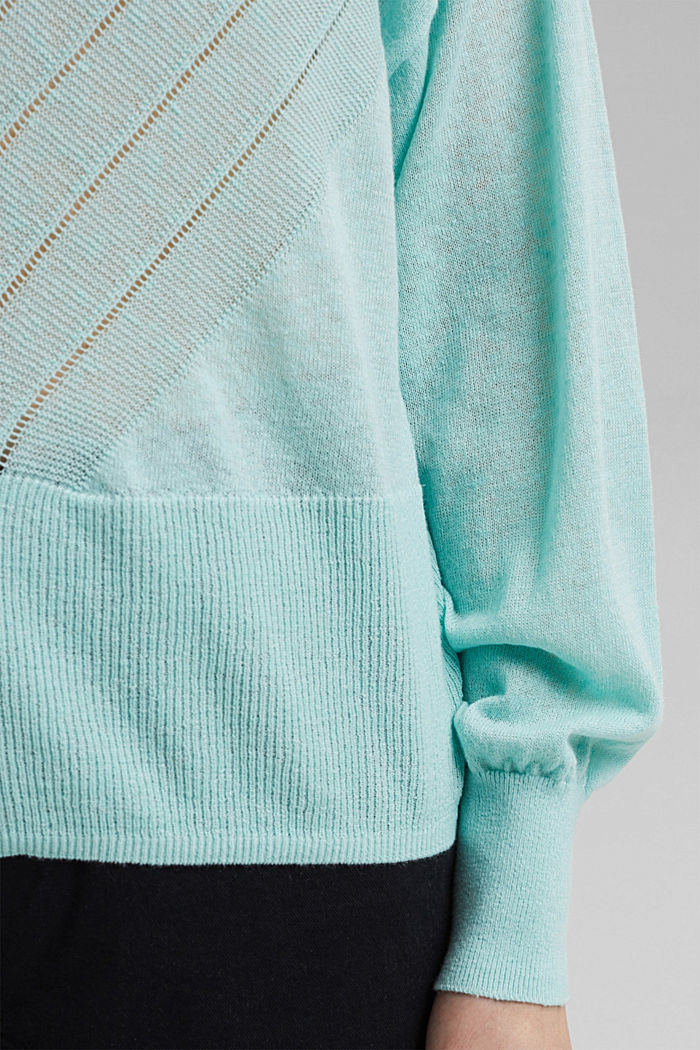 Recycelt: Pointelle-Pullover mit Leinen, LIGHT TURQUOISE, detail image number 2