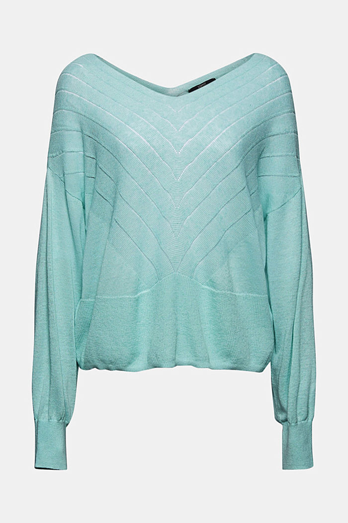 Recycelt: Pointelle-Pullover mit Leinen, LIGHT TURQUOISE, detail image number 7