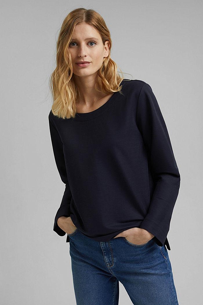 Piqué texture sweatshirt, NAVY, detail image number 0