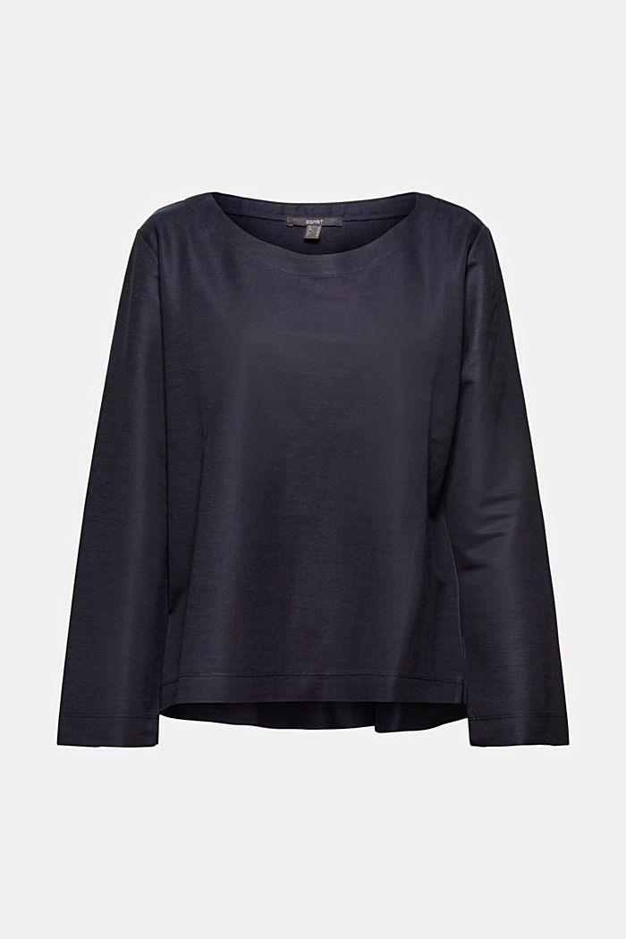 Piqué texture sweatshirt, NAVY, detail image number 6
