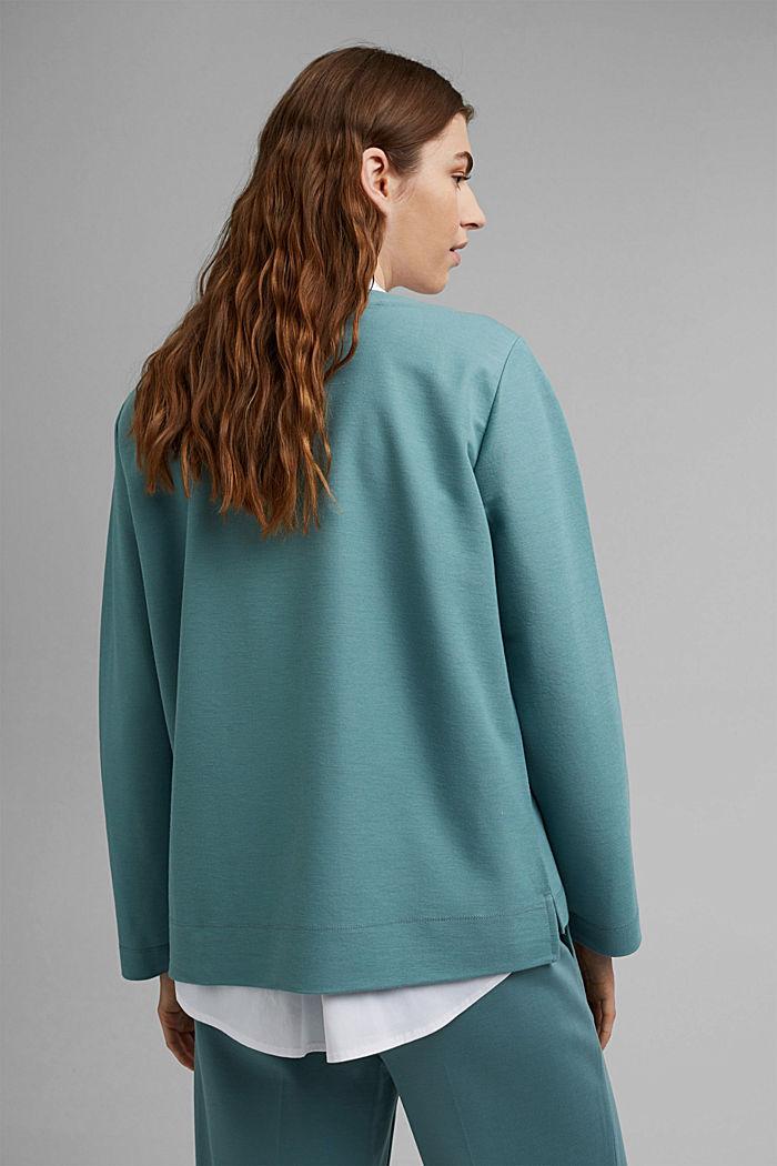 Sweatshirt met piquéstructuur, DARK TURQUOISE, detail image number 3