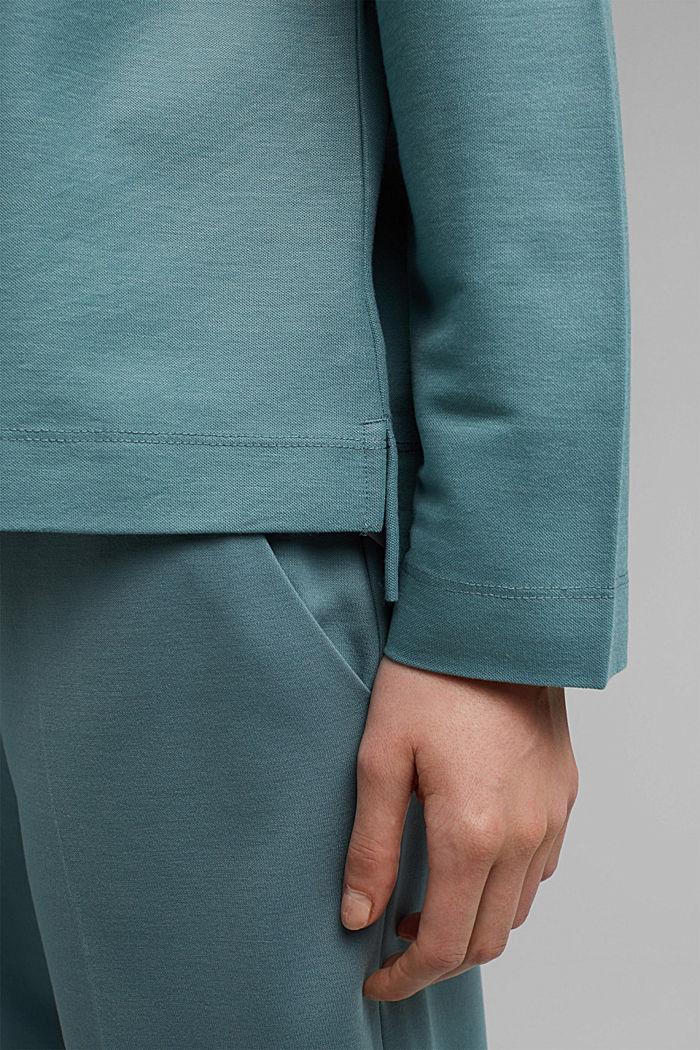 Sweatshirt met piquéstructuur, DARK TURQUOISE, detail image number 5