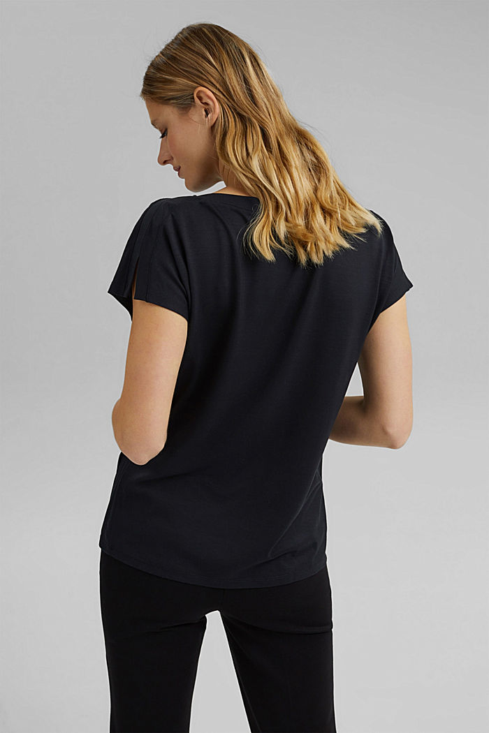 TENCEL™: T-Shirt mit U-Boot-Ausschnitt, BLACK, detail image number 3