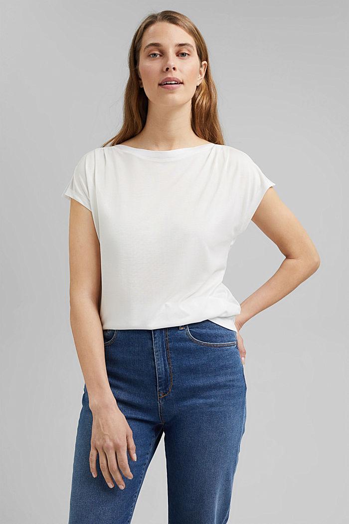 TENCEL™: T-Shirt mit U-Boot-Ausschnitt, OFF WHITE, detail image number 0