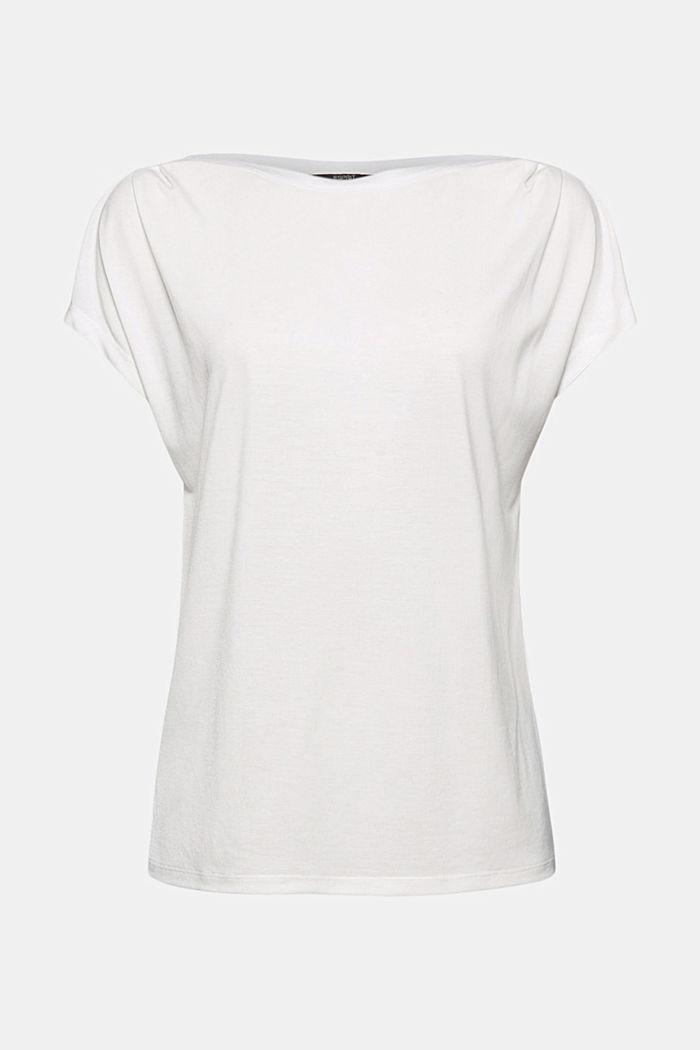 TENCEL™: T-Shirt mit U-Boot-Ausschnitt, OFF WHITE, detail image number 6