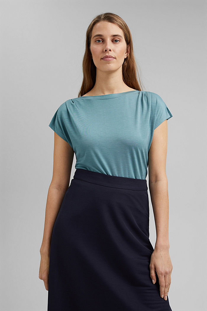 TENCEL™: T-shirt with a bateau neckline, DARK TURQUOISE, detail image number 0