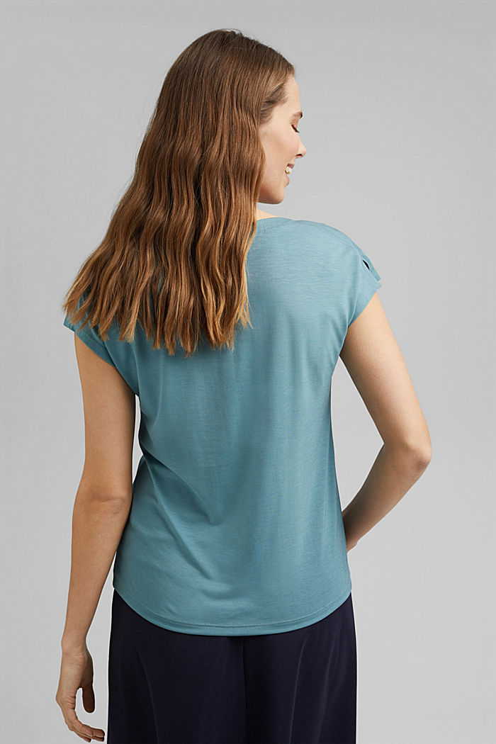TENCEL™: T-shirt with a bateau neckline, DARK TURQUOISE, detail image number 3