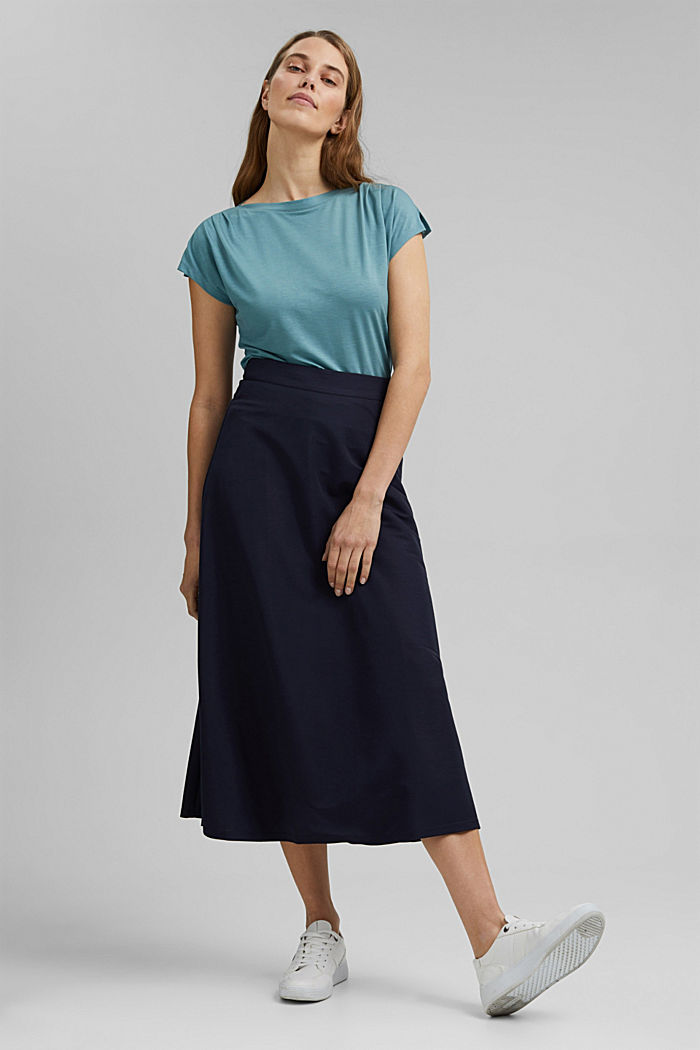 TENCEL™: T-shirt with a bateau neckline, DARK TURQUOISE, detail image number 1