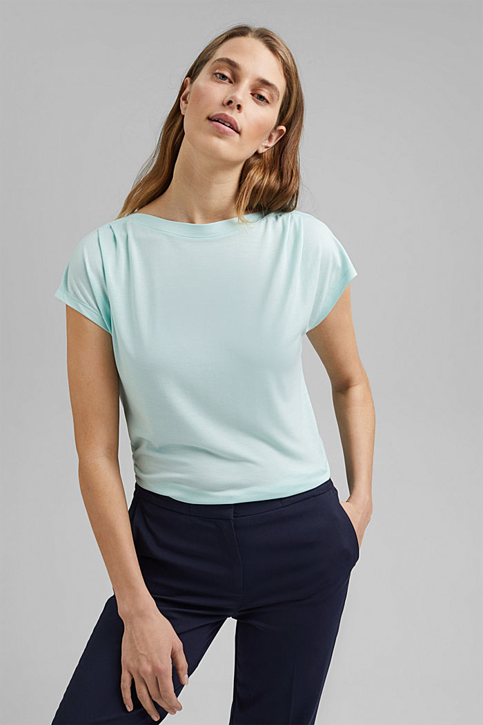 TENCEL™: T-shirt with a bateau neckline, LIGHT TURQUOISE, detail image number 0