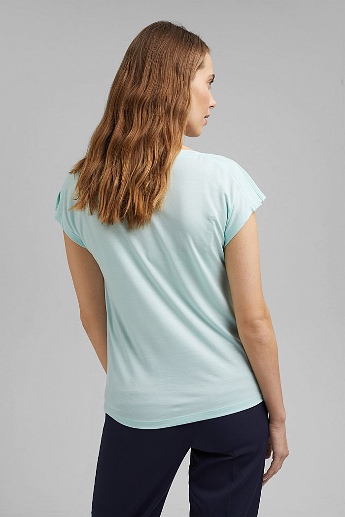 TENCEL™: T-shirt with a bateau neckline, LIGHT TURQUOISE, detail image number 3