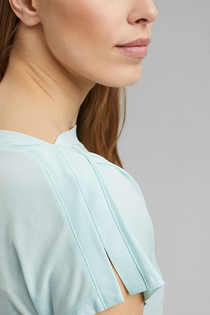 TENCEL™: T-shirt with a bateau neckline, LIGHT TURQUOISE, detail image number 2
