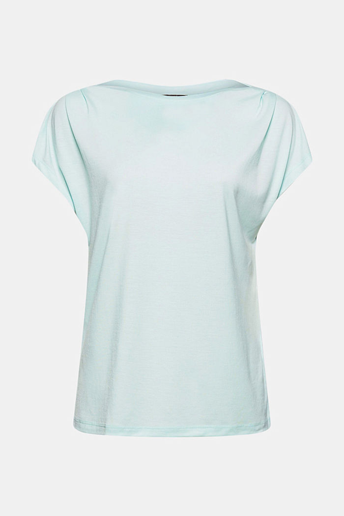 TENCEL™: T-shirt with a bateau neckline, LIGHT TURQUOISE, detail image number 6