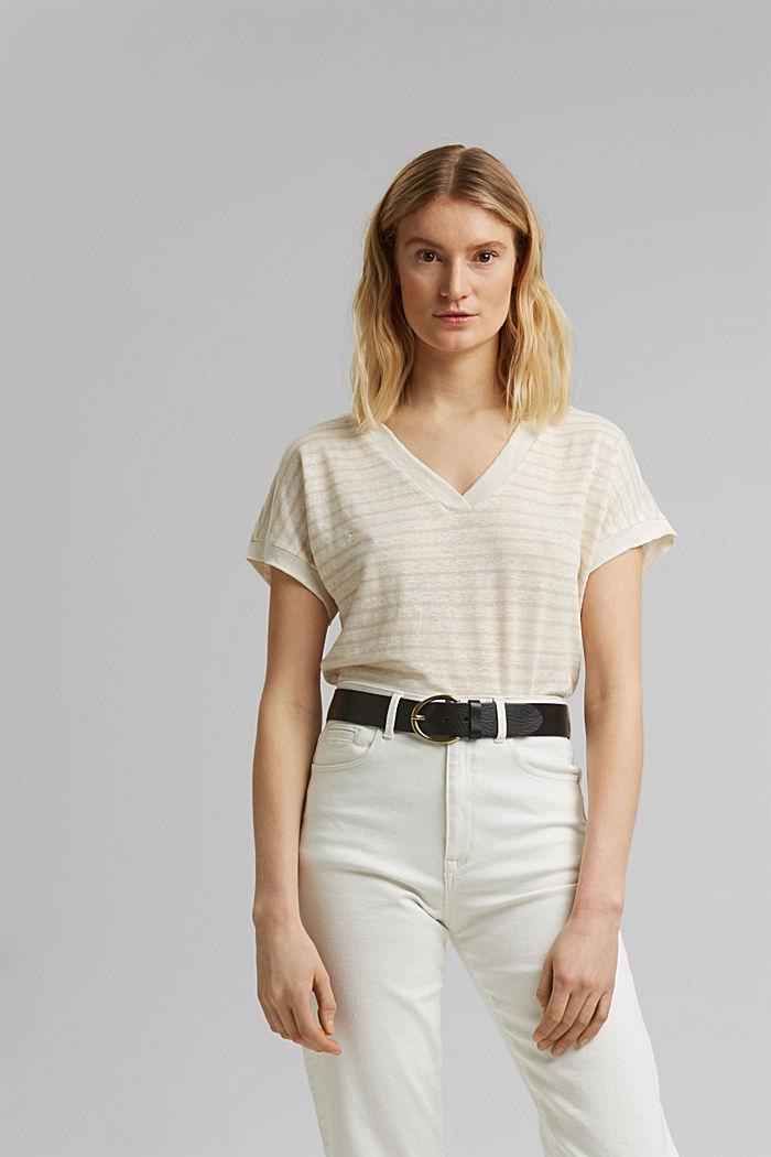 Leinen: T-Shirt mit Streifen, CREAM BEIGE, detail image number 0
