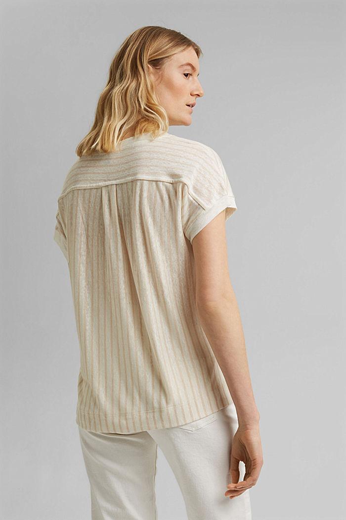 Leinen: T-Shirt mit Streifen, CREAM BEIGE, detail image number 3