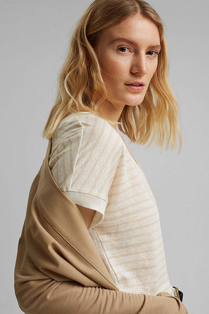 Leinen: T-Shirt mit Streifen, CREAM BEIGE, detail image number 5