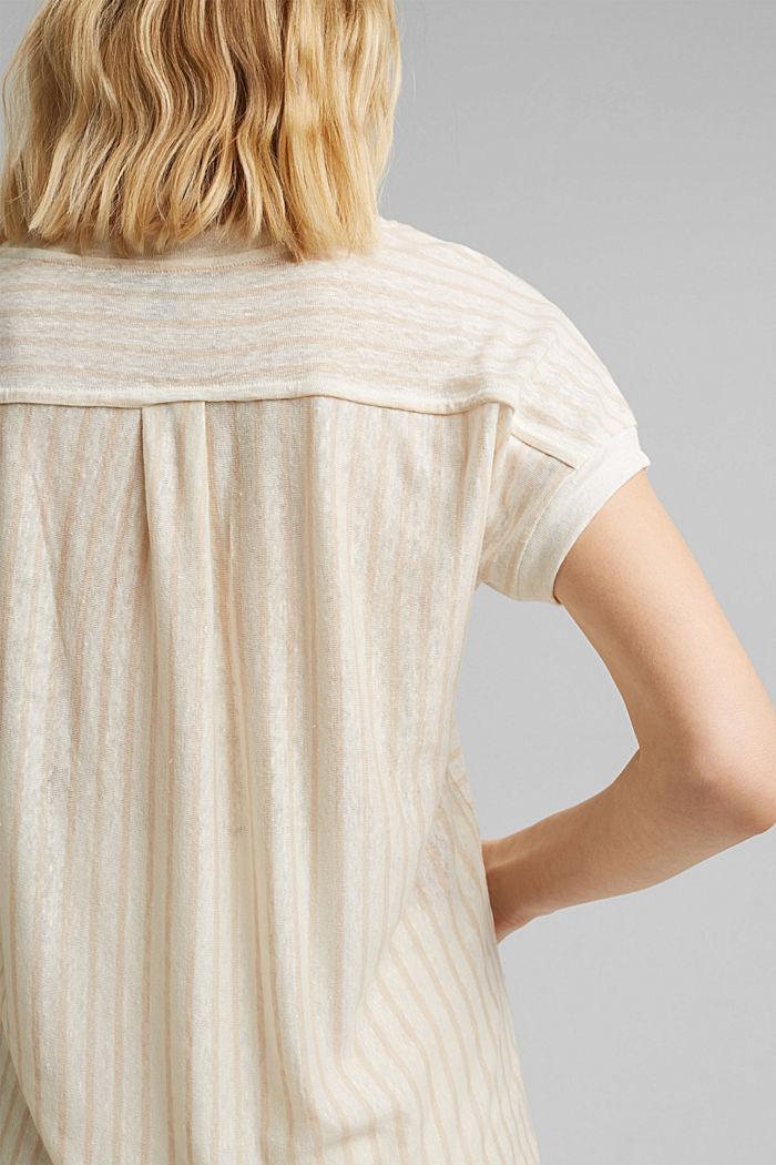 Leinen: T-Shirt mit Streifen, CREAM BEIGE, detail image number 2