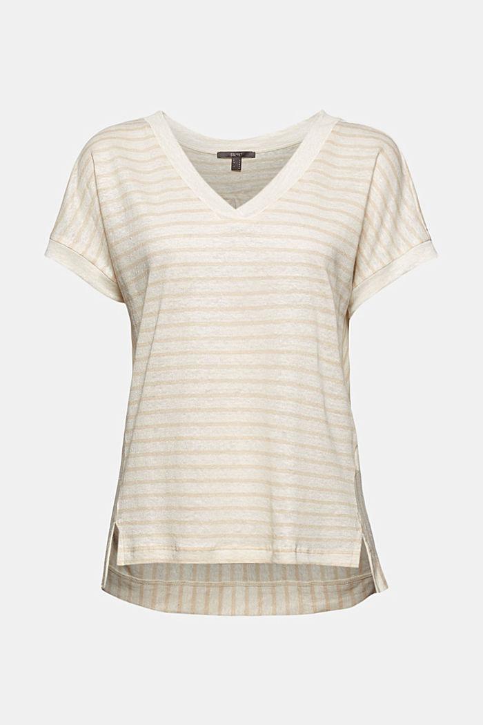 Leinen: T-Shirt mit Streifen, CREAM BEIGE, detail image number 6
