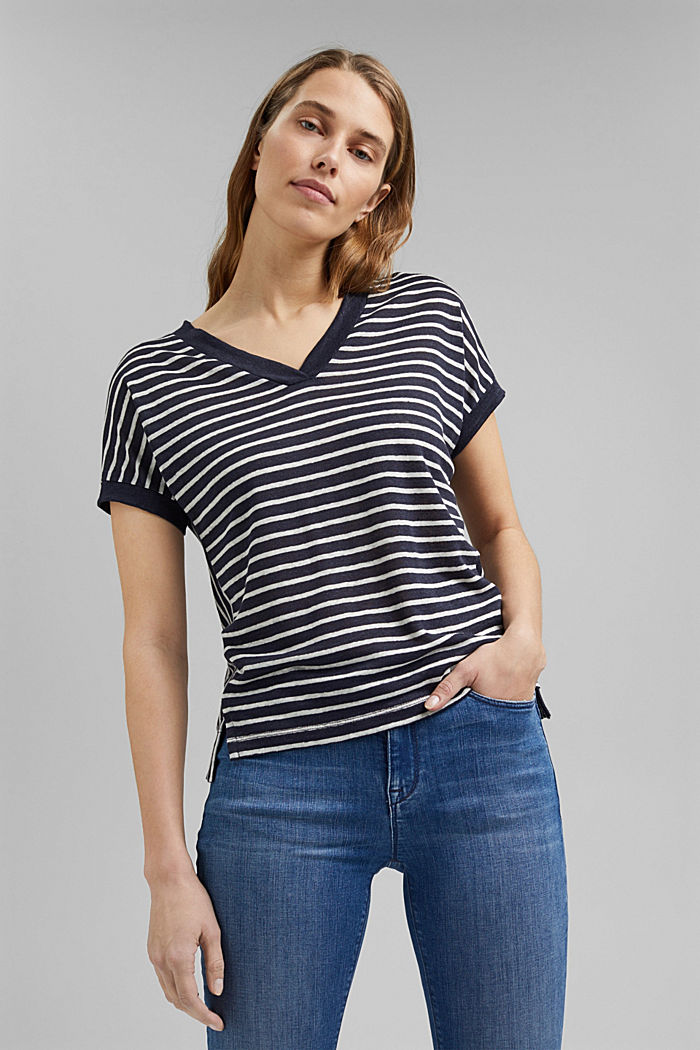 Linen: T-shirt with stripes