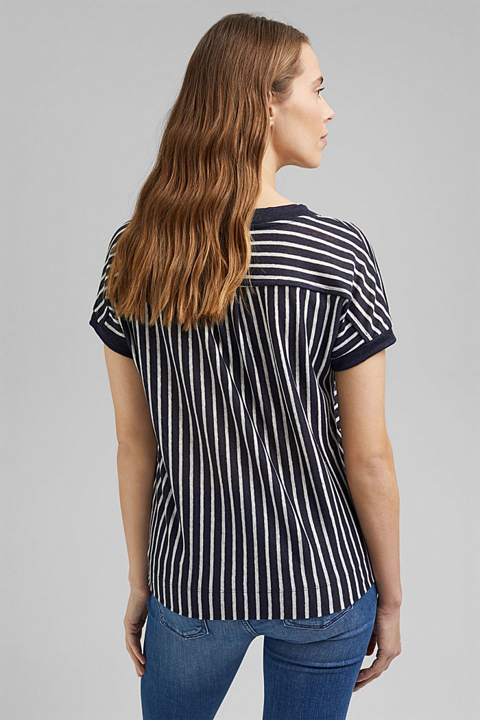 Made of 100% linen: T-shirt with stripes, NAVY, detail image number 3