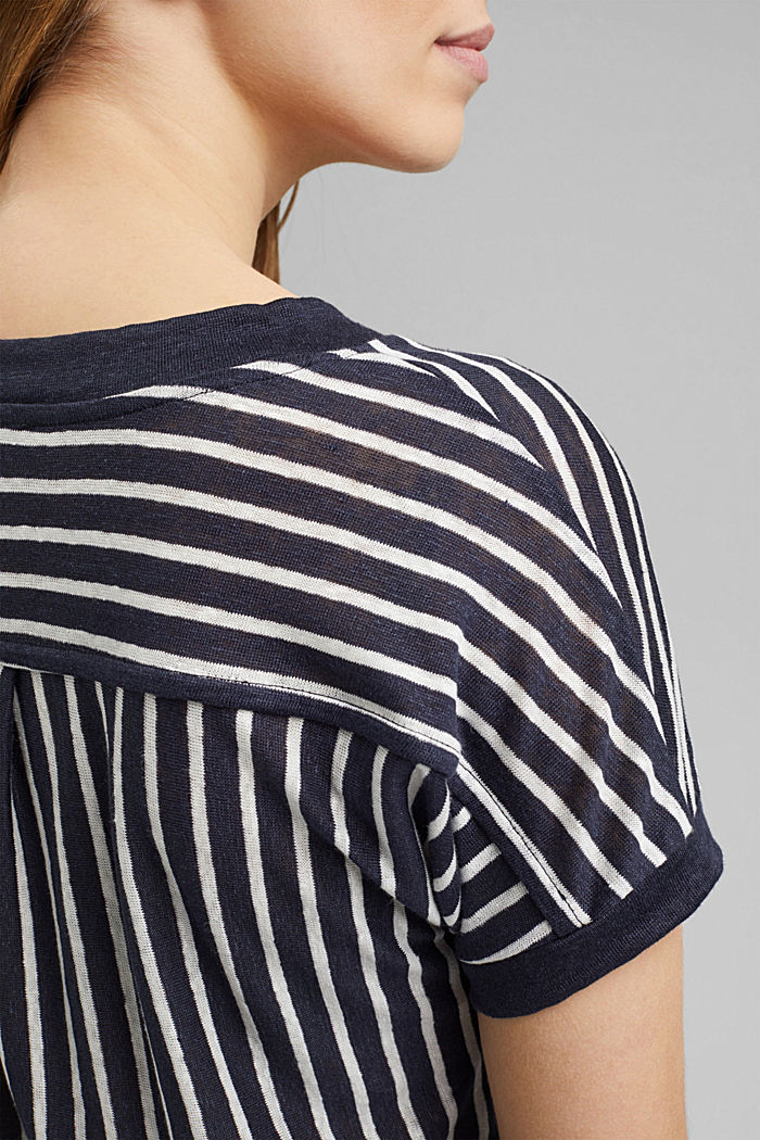 Made of 100% linen: T-shirt with stripes, NAVY, detail image number 2