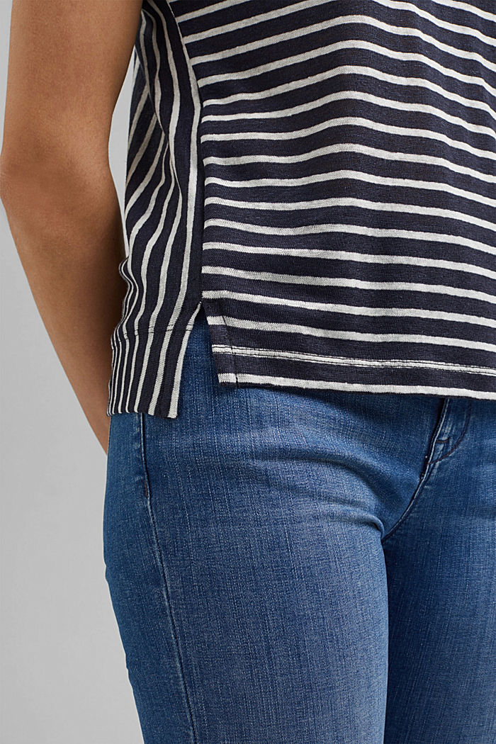 Linen: T-shirt with stripes, NAVY, detail image number 5