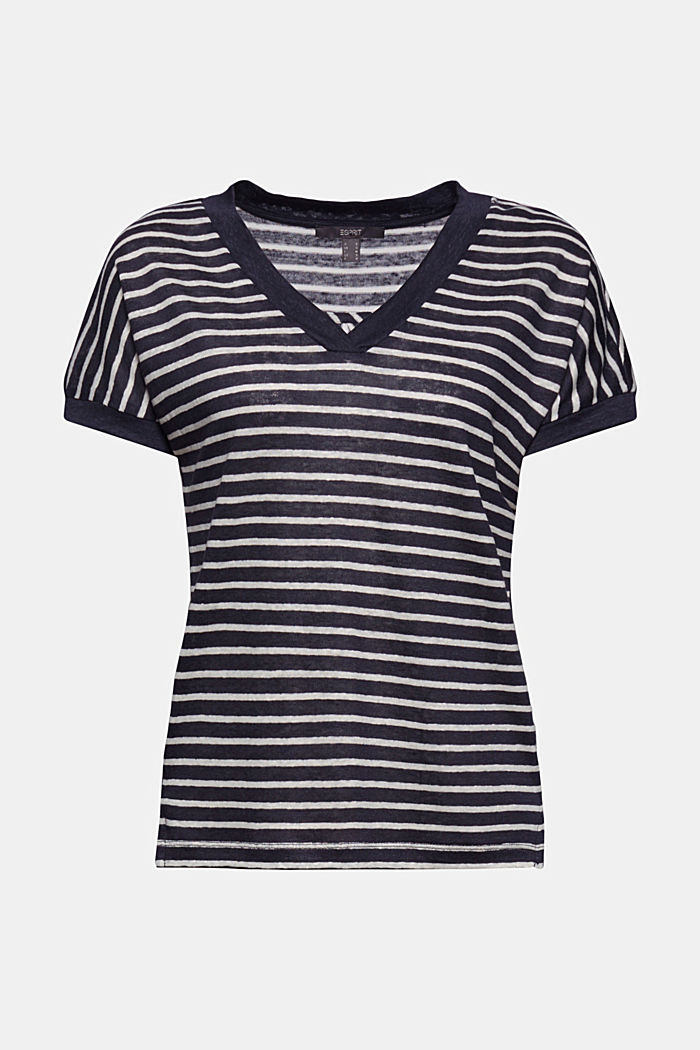 Linen: T-shirt with stripes, NAVY, detail image number 6