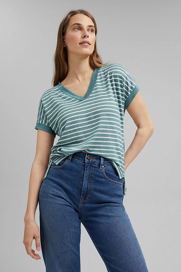 Van 100% linnen: T-shirt met strepen, DARK TURQUOISE, detail image number 0