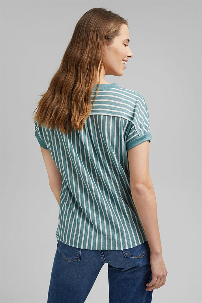 Linen: T-shirt with stripes, DARK TURQUOISE, detail image number 3