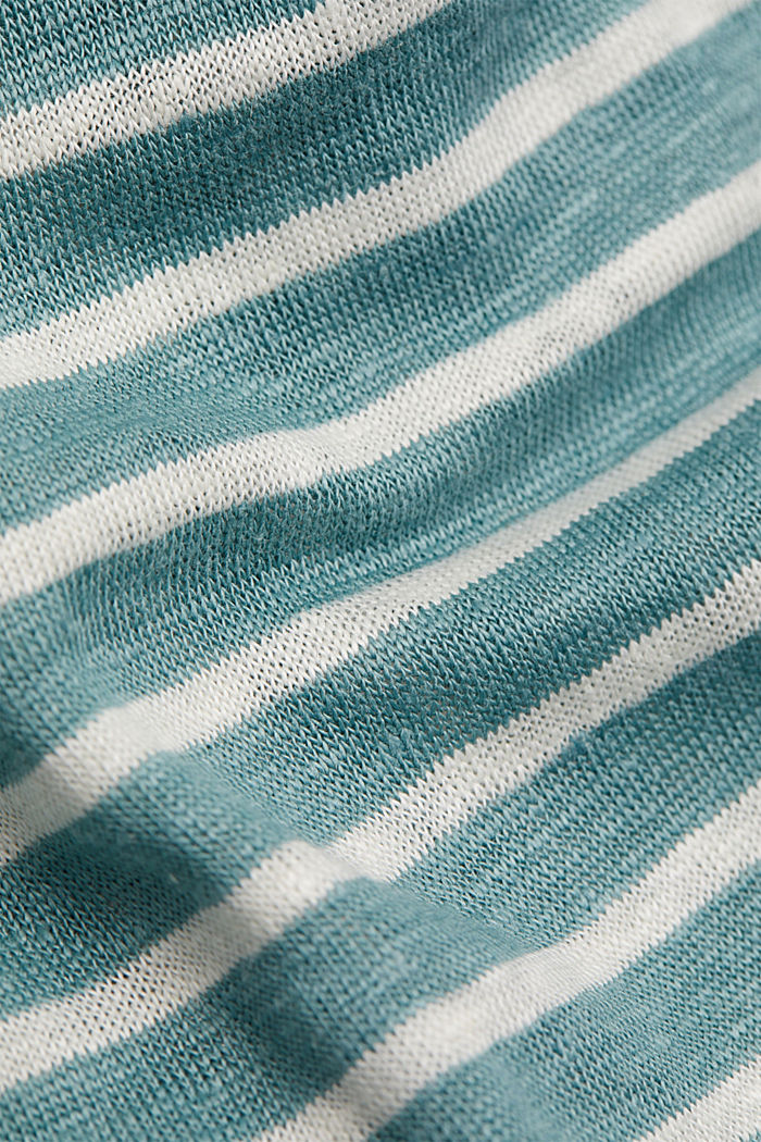 Linen: T-shirt with stripes, DARK TURQUOISE, detail image number 4