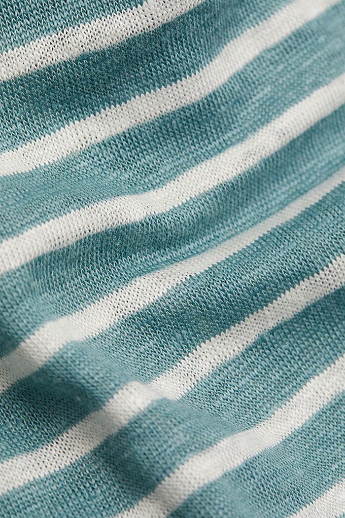Van 100% linnen: T-shirt met strepen, DARK TURQUOISE, detail image number 4