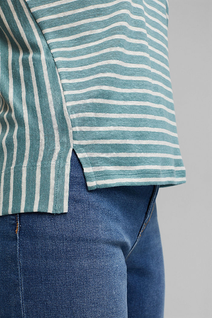 Linen: T-shirt with stripes, DARK TURQUOISE, detail image number 5